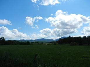 Shot of the mountains we will be hiking from the road in