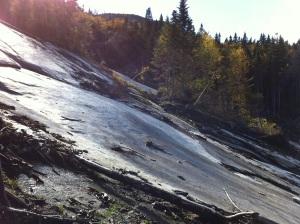Rock slide from Hurricane Irene