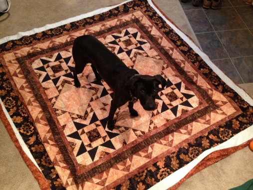 helping with the quilt