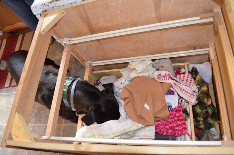 digging around in the towel drawer after the countertop was taken off