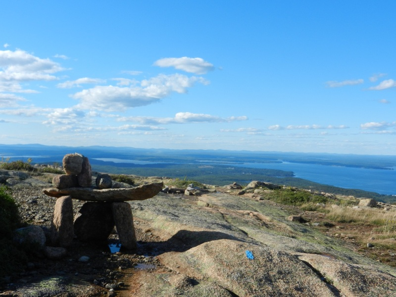 A view from Cadillac Mt. in Acadia National Park (Bar Harbor Maine) the rock cairns help mark the trail