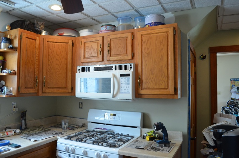 with the cabinets and appliances, notice the supervisor in the top left