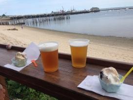 gelato and beer overlooking the harbor