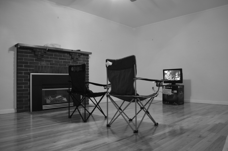 camp chairs and tv