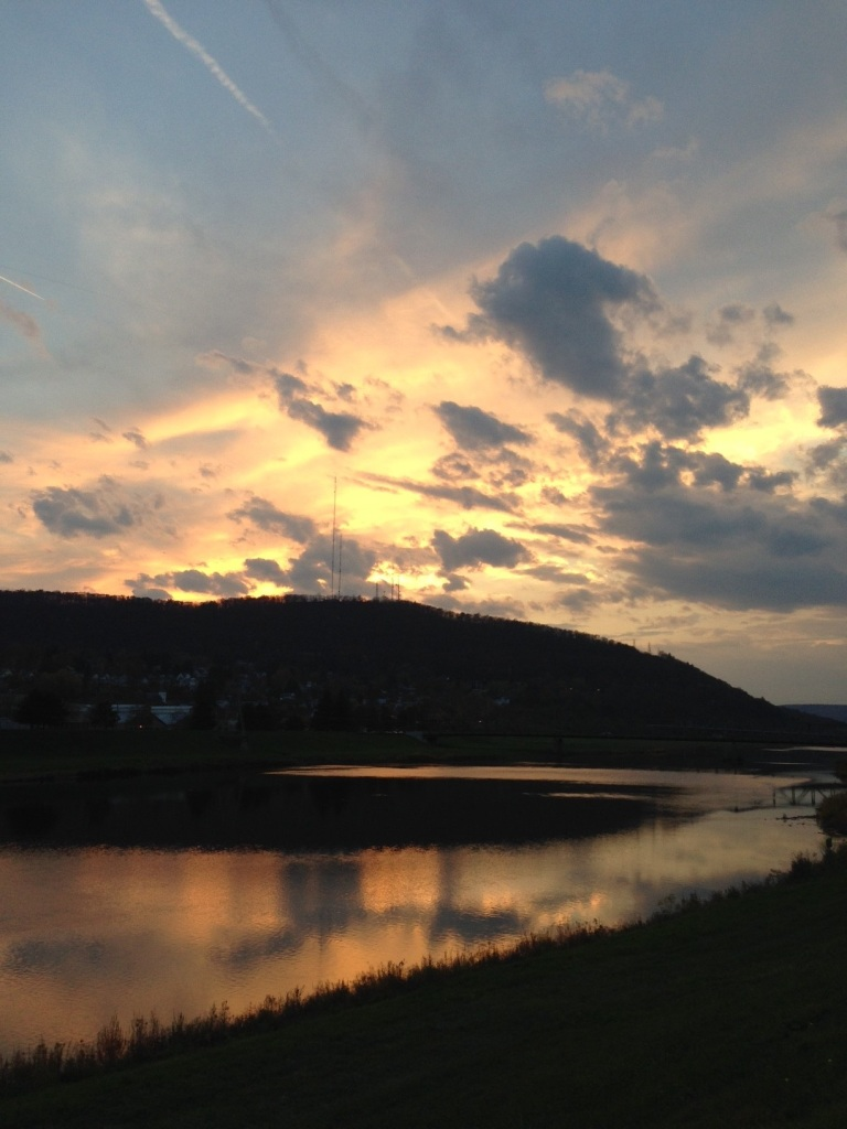 sunset over chemung river