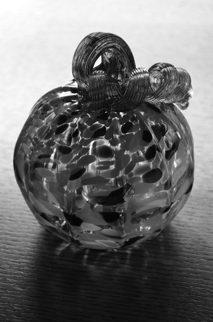 glass pumpkin BW
