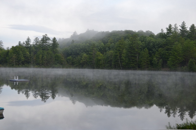Early morning mist over Ordway Pond in the Adirondacks
