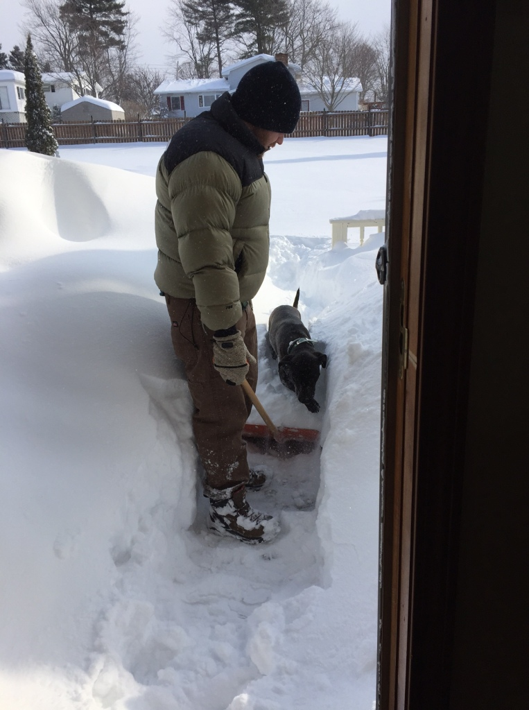 Bryan and Seneca taking the night's drifting accumulation off the porch