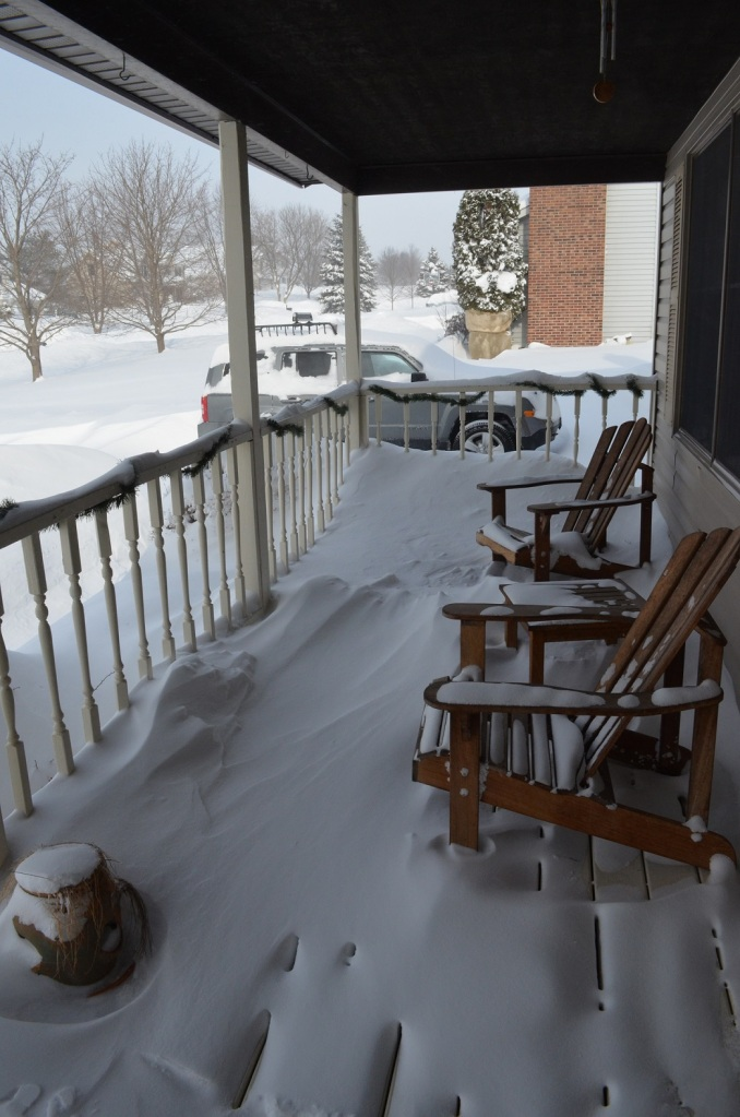 the front porch a bit buried